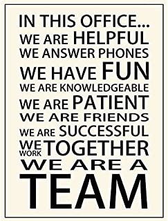 Motivational Motto in This Office We are Helpful We Answer Phones We Have Fun We are Friends We are A Team Posters Prints Office Teamwork Wall Art Decor (17.72'' x 23.62'')