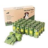 Toozey 360 Hundekotbeutel Biologisch Abbaubar mit Beutelspender, Hundekotbeutel mit Duft, Auslaufsicher & Zitronenduft, Extra Dick und Groß Hundetüten, Leicht Abzureißen