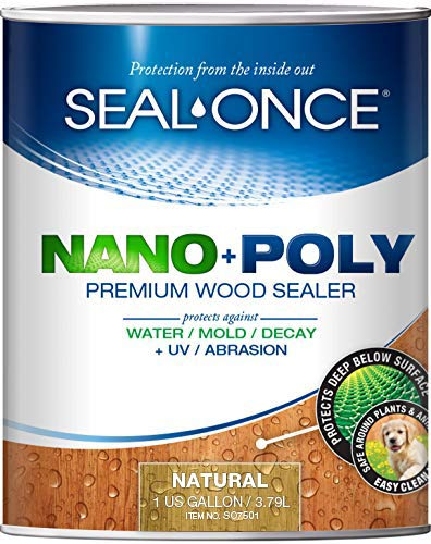 SEAL-ONCE Nano+Poly Ready Mix Penetrating Wood Sealer & Stain with Polyurethane (Natural) - Water-Based, Low-VOC, Waterproofing for Decks, Fences, siding & Log Homes. … (1 Gallon)
