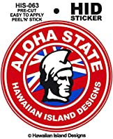 HID ハワイアン ステッカー デカール(ALOHA STATE-カメハメハ) ハワイアン雑貨 ハワイ 雑貨 お土産 (レッド)