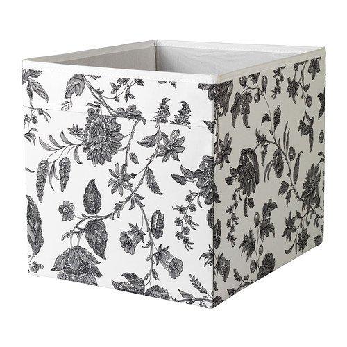 IKEA DRONA–Scatola, colore: nero bianco, motivo floreale, 33x 38x 33cm