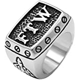 enhong 316L Stainless Steel Mens Outlaw Punk FTW Silver Biker Rings Motorcycle Jewelry US Size 15