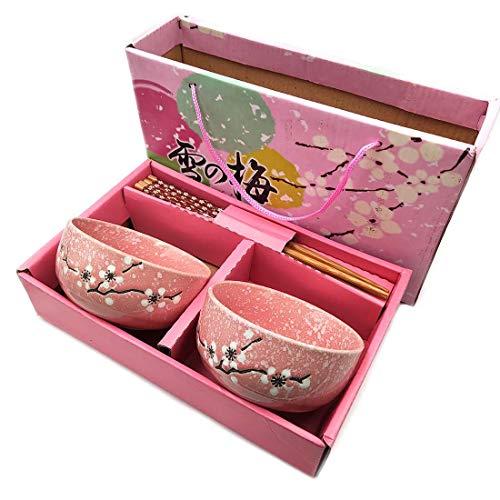 Ceramics - Juego de cuencos de porcelana china japonesa, juego de 2 cuencos con 2 pares para sushi, fideos, vajilla