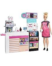 Barbie GMW03 - Barbie-kafé med 30,40cm hög blond, kurvig docka och mer än 20 realistiska lektillbehör