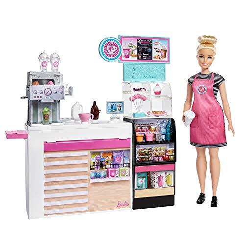 Barbie- Playset La Caffetteria, con Bambola Curvy Bionda, Macchina per Caffè, Bancone e Oltre 20 Accessori, Giocattolo per Bambini 3+Anni, GMW03