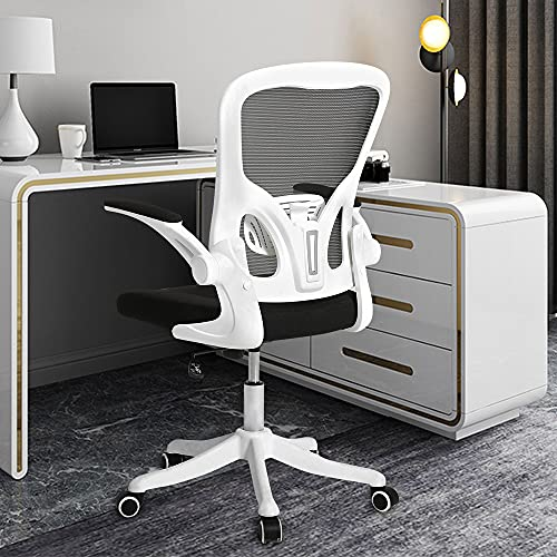 Cooient Desk Office Task Chair Ergonomic Mesh Chair Computer Home Chair with Adjustable Lumbar Support Flip-up Arms (White)