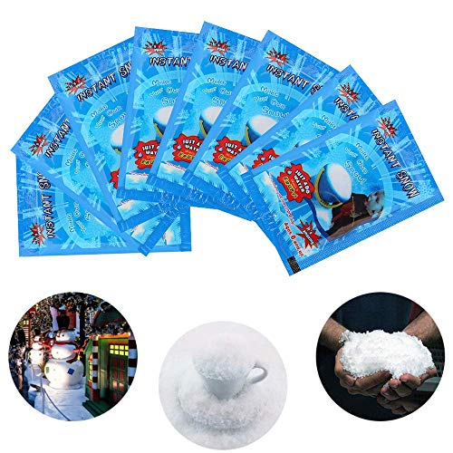 YTFU 10PCS Magic Instant Snow Fake Powder,Artificial DIY Slime Snow Fluffy for Christmas Wedding Snow Decorations