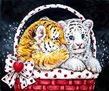 Kit de pintura de diamantes 5D,Canasta animal lindo dos leopardos Taladro redondo punto de cruz, bordado, artesanía para adultos, niños, para decoración del hogar