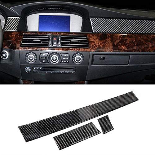 Blossion Para BMW E60 Old 5 Series 2005-2010 Accesorios 3 unids fibra carbono interior del coche tablero decoración tira pegatinas cubierta