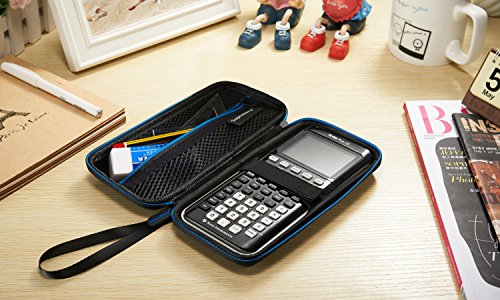 Supremery for Texas Instruments TI-84 CE Plus Graphing Calculator Hard Carrying Travel Storage Case Bag - Black/Blue Photo #8