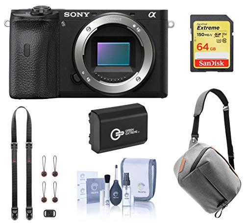 Sony Alpha a6600 Mirrorless Digital Camera Body (ILCE6600/B) Bundle with Peak Design Bag, Extra Battery, 64GB SD Card, Neck Strap,...