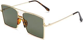 HPPSLT - Gafas de Sol Estilo Aviador con Montura Metal, Gafas de Sol cuadradas de Metal con Montura Grande Gafas de Sol de Moda