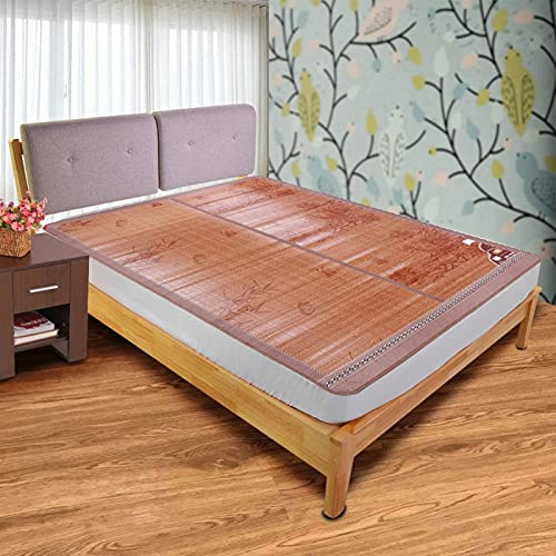 Shipenophy Tapis en Bambou Conception Pliante Double Face Portable Lisse avec Une dureté et Une durabilité élevées Tapis de lit de Couchage de(90 * 190cm)
