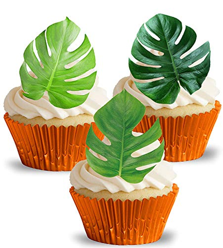 PRE-Cut Monstera Tropical Leaves Edible Rice/Wafer Paper Cupcake Cake Dessert Hawaiian Jungle Exotic Toppers Birthday Spring Summer Holiday Beach Pool Party Wedding Baby Shower Decorations