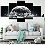 QYY 5 Panel Piece Canvas Prints Wall Art Painting Goku Framed Decor Naruto Grey Gaming Black And White Lion Marvel Cars Islamic Anime Flowers Planet Landscape