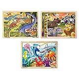 Melissa & Doug 24 Piece Wooden Jigsaw Puzzle Dinosaur, Safari & Ocean Puzzle (3 Pack)