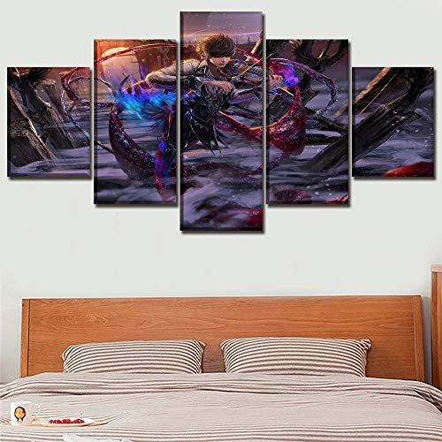 PANPAN Anime Magie Geiger Malerei Leinwanddruck 5 Stück Wandkunst Poster modularen Bilderrahmen Wohnkultur Schlafzimmer Wohnzimmer