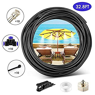 LUFFYLIVE Misting Cooling System, Misting System for Garden, Greenhouse, Outdoor Cooling, Umbrella, Swimming Pool, Mist Cooling System with 32.8FT Misting Line + 10 Brass Mist Nozzles