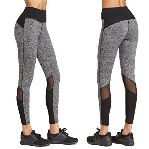 Women Leggings, Gillberry Women Sports Trousers Athletic Gym Workout Fitness Yoga Leggings Pants (M, Gray+Black)
