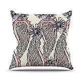 Kess InHouse Sonal Nathwani Inky Paisley Bloom almohada para exteriores, 26 x 26 pulgadas
