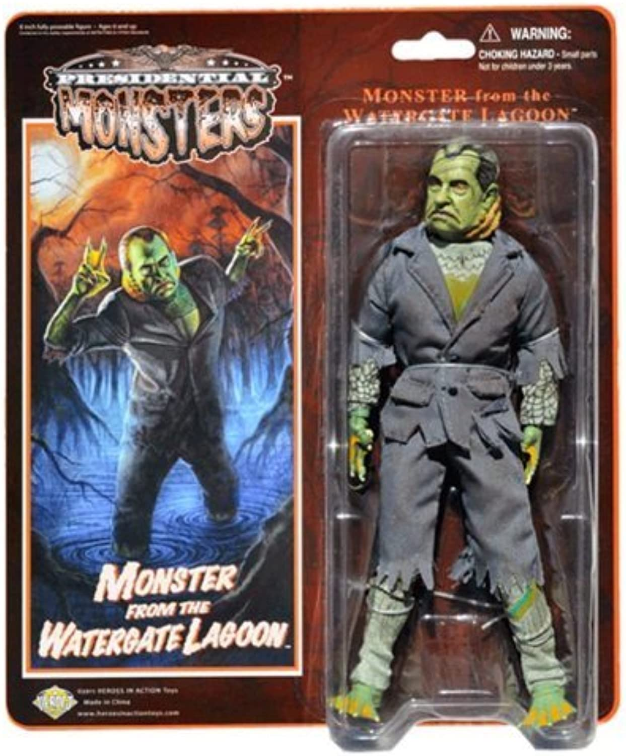Monster from the Watergate Lagoon - Presidential Monsters - Richard Nixon as a Fish Monster - 8 1 4 tall fully poseable action figure - with cloth costume by Heroes In Action Toys - Presidential Monsters