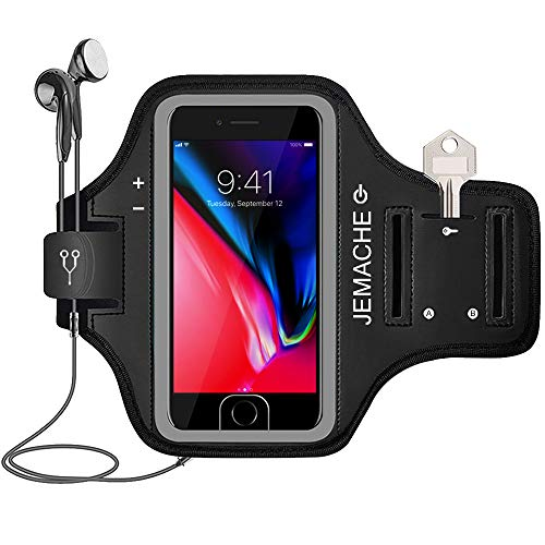 iPhone 7/8 Plus Armband, JEMACHE Gym Running Workout Exercise Pouch Phone Holder Arm Band Case for iPhone 6/6S/8/7 Plus Support Touch ID Access (Black)
