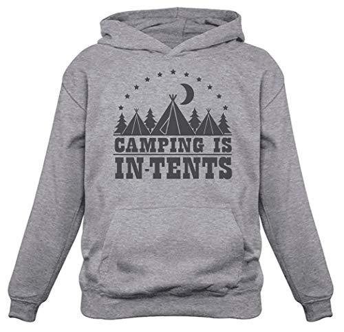 Camping Is In Tents - Moletom com capuz feminino divertido para presente de acampamento, Cinza, M