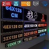 LED Einfarbig Blau Laufschrift Lauftext Außenwerbung LEUCHTREKLAME WLAN Einseitig (16 x 96 cm)