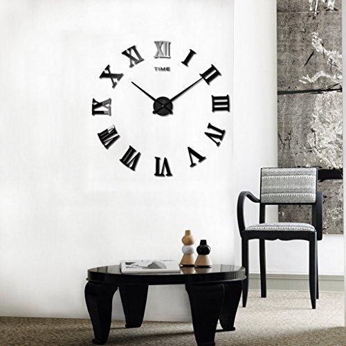 SESO UK- Creative 3D Horloge murale de mode Acrylique miroir Chiffres Romains DIY grand rond stickers muraux Bureau Home Decor (Couleur : Noir)