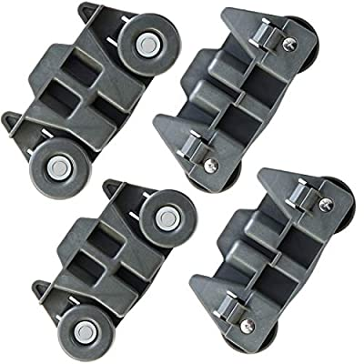 4 Packs NEW W10195416 UPGRADED Dishwasher Lower Wheels Metal shaft Replacement Parts,Height 2.83 In for Kitchen Aid whirlpool kenmore maytag Kitchenaid Wheels for Dishwasher Model W10195416V,AP5983730