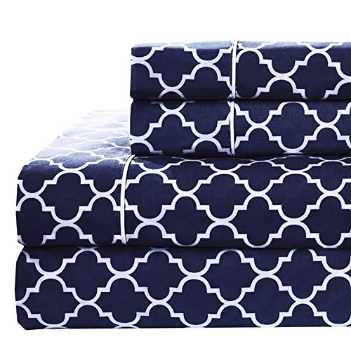 Crisp, Breathable and Lavishly Soft 100% Long Staple Cotton; Bright Navy and White Print (Twin XL) Twin Extra Long Modern 100-Percent Percale Cotton...