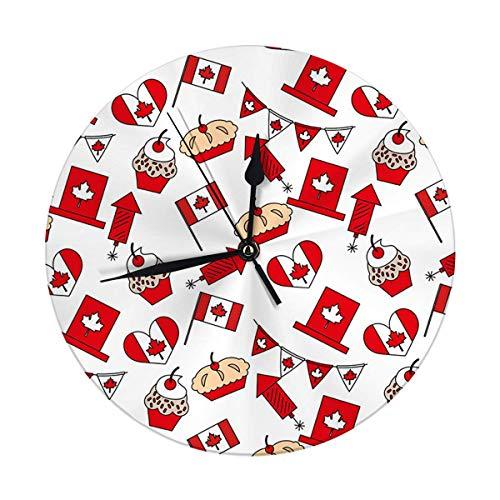 Mesllings Reloj de pared sin tictac, 9.8 pulgadas, diseño canadiense iconos patrón esquema, reloj redondo digital