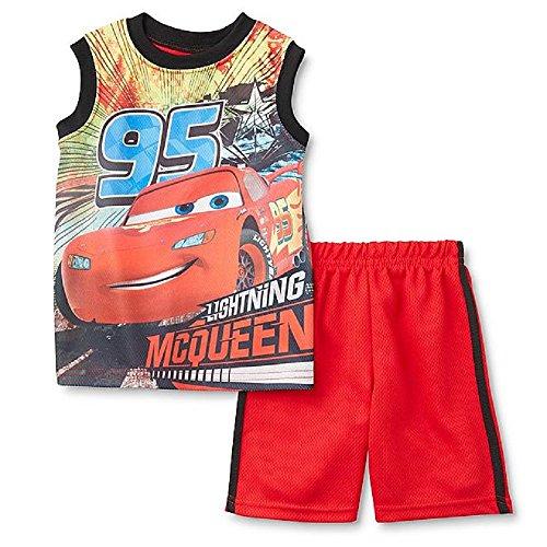 Batman Cars Ninja Turtle 98/104 Sommer Outfit T-Shirt + Shorts 2 teiliges Set Junge Sommer Kombination (rot (Cars))