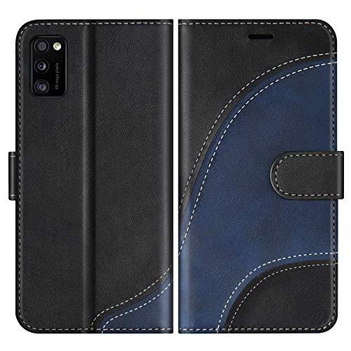 BoxTii Hülle für Galaxy A41, Leder Handyhülle für Samsung Galaxy A41, Ledertasche Klapphülle Schutzhülle mit Kartenfächer & Magnetverschluss, Schwarz