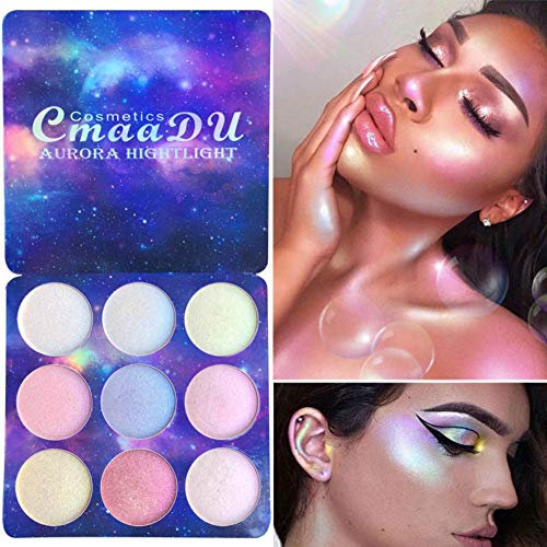 Allbesta Highlighter Palette 9 Farben Illuminator Gesicht Aufhellen Contouring Bronzer Make-up Glow Powder