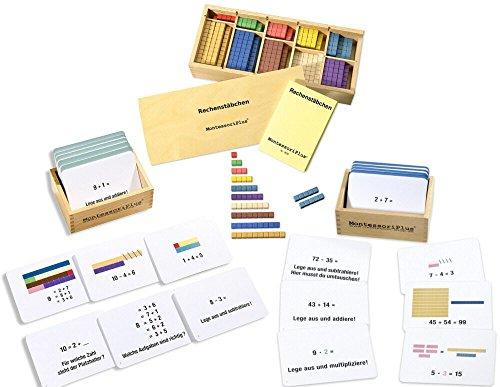 Montessori-Material Rechenstäbchen mit 200 Aufgabenkarten inkl. Selbstkontrolle zur Freiarbeit