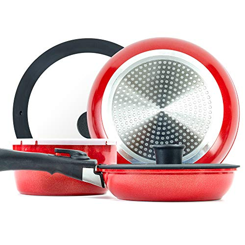 ROCKURWOK Pots and Pans Set Nonstick, Hard Anodized Cookware Set with 1 Removable Handle, Gas, Induction Compatible, Dishwasher Safe, 3-Piece, Light Red
