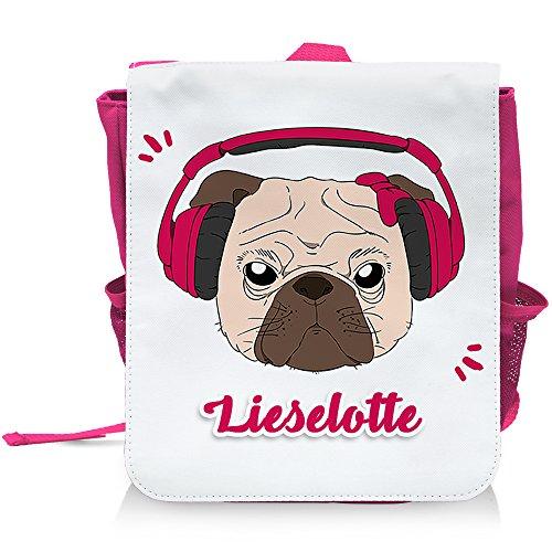 Kinder-Rucksack mit Namen Lieselotte und schönem Motiv - Mops mit Kopfhörer und Schleife - in Pink für Mädchen