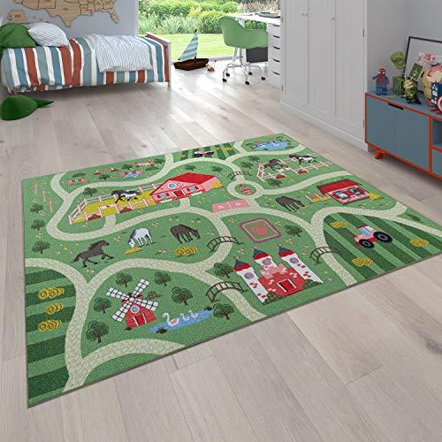 Tappeto per Bambini, Tappeto da Gioco per camere dei Bambini, Paesaggio e Cavalli, in Verde, Dimensione:80x150 cm