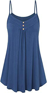 ANJUNIE Women Summer Loose Button V Neck Cami Tank Tops Vest Swing Tunic Top Blouse