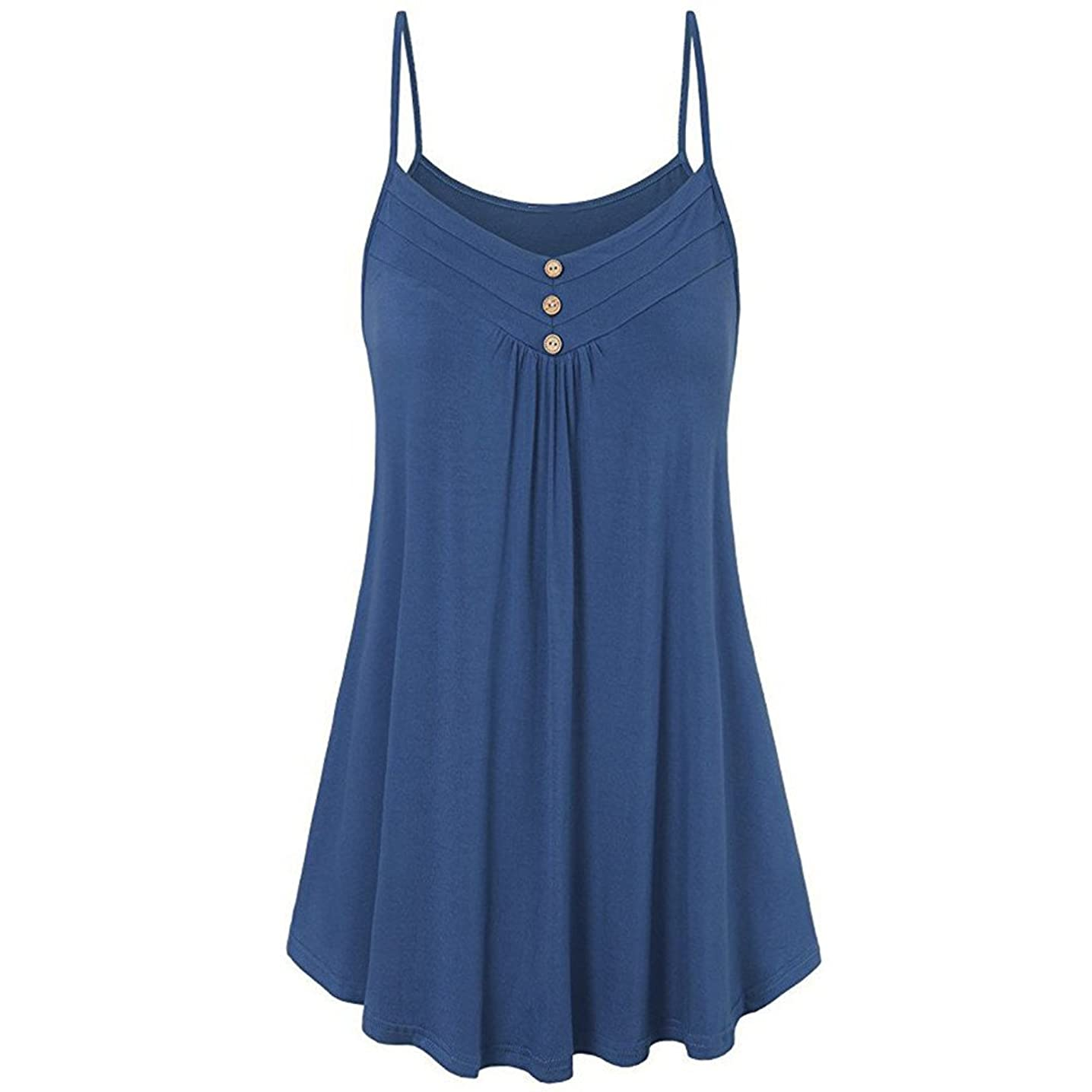 HGWXX7 Women Summer Casual Loose Button V Neck Solid Cami Vest Blouse Tank Tops