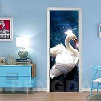 ドアステッカー 3DドアステッカーDIYホームデコレーションステッカースワン動物ベッドルーム改装のためのアートピクチャー自己接着防水壁画を印刷 (Size : 95x215cm)-95x215cm