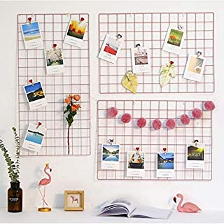 GGJIN 2 Pcs Iron Grid Photo Frame Wall Decoration Display (Color : 2 Pcs Pink, Size : 40 * 80cm)
