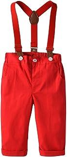 HOSD Ropa para niños Pantalones para niños Caballero Babero niño Pantalones a Juego de Navidad Pantalones de Tirantes para...