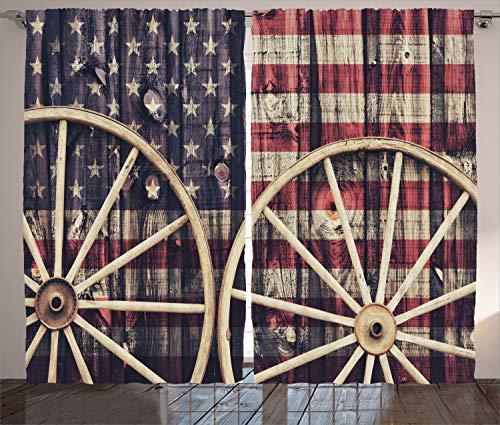 ABAKUHAUS Western Rustikaler Gardine, Antike amerikanische Flagge, Schlafzimmer Kräuselband Vorhang mit Schlaufen & Haken, 280 x 175 cm, Blau Rot
