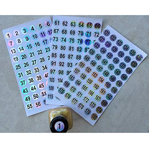 BLOUR wasserdichte Nummer 1-300 Laseretiketten Aufkleber für DIY Craft Nagellack Lippenstift Farbnummer Tags Schulbürobedarf