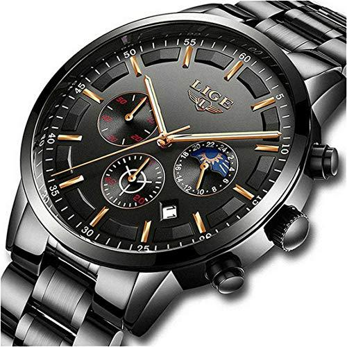 LIGE Relojes para Hombre Moda Acero Inoxidable Deportivo Analógico Reloj Cronógrafo Impermeable Negocios Reloj de Pulsera (Black Black)