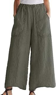 Huateng weibliche beiläufige lose Taschen-Hose Plus Größen-Capri-Hosen entspannte geerntete Hose
