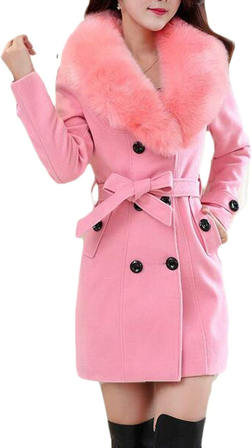 Suncolor8 Womens Winter Double Breasted Faux Fur Collar Wool Blend Trench Pea Coat Overcoat
