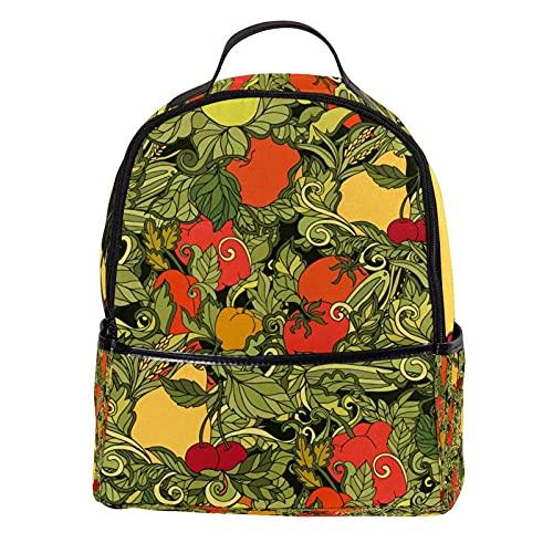 KAMEARI Zaino per Scuola Foglie Verdure Frutta Rosso Pomodoro Casual Daypack per Viaggi con Tasche Laterali Bottiglia